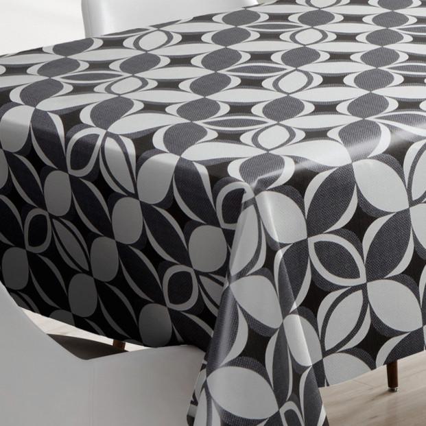 Firkløver grå, voksdug med grafisk mønster, 140