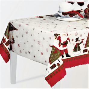 Julevoksdug med Julemænd, snemænd og juletræer