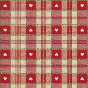 Julevoksdug - Hjerter i Tern rød 140 cm