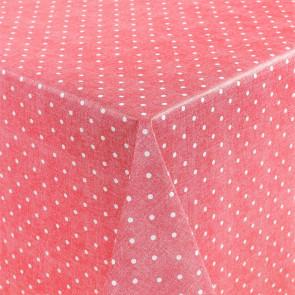 Polkaprikker på rød/pink bund, voksdug med let præget overflade