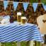 Harlekin voksdug til Oktoberfesten, blå hvid tern, 140 cm bred